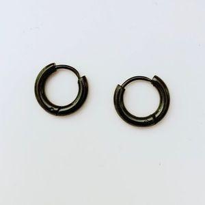EARRINGS — Black Hoop/Cartilage 8mm